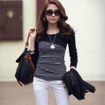 Womens Long Sleeve Striped Cotton T-Shirt Tops(Black Stripe)