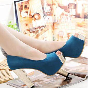 Harga Women's Party Thick Heel Shoes ( BLUE)