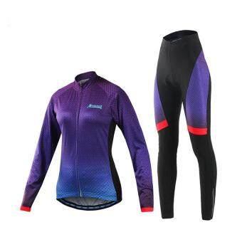 Women's Summer Cycling Long Sleeve Jersey Shirt Padded PantsTrousers Set Bike Bicycle MTB Sportwear - PURPLE