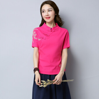 Xia Xin national style cotton linen embroidered flowers slimming Top (Rose color)