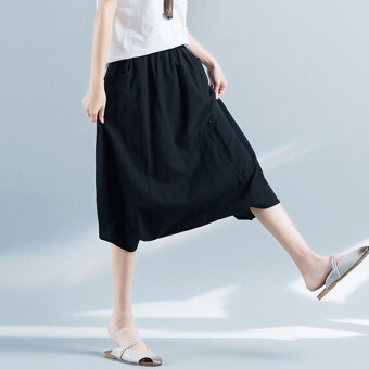 Xia Xin theatrical elastic waist button loose pants