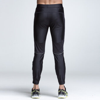 XTEP Mens Tight Sport Pants Ankle Length Compression Base LayerMarathon Running Pants Gym Outfit Cycling Trousers (Black) - 5