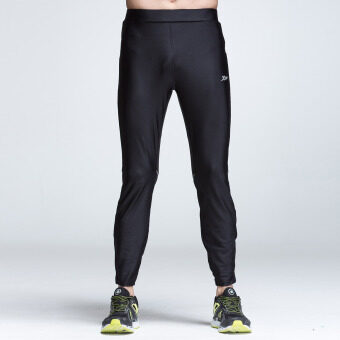 XTEP Mens Tight Sport Pants Ankle Length Compression Base LayerMarathon Running Pants Gym Outfit Cycling Trousers (Black) - 3