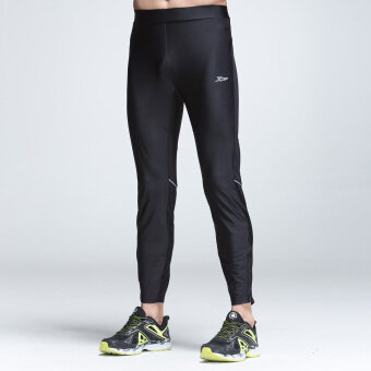 XTEP Mens Tight Sport Pants Ankle Length Compression Base LayerMarathon Running Pants Gym Outfit Cycling Trousers (Black) - 4