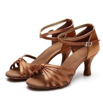 Yashion 217 Women Satin Ballroom Salsa Latin Dance Shoes (Brown) - 5