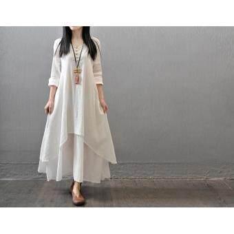 Yazilind Boho Hippie Women Long Sleeve Cotton Linen Casual Long Maxi Dress Amy White - 4