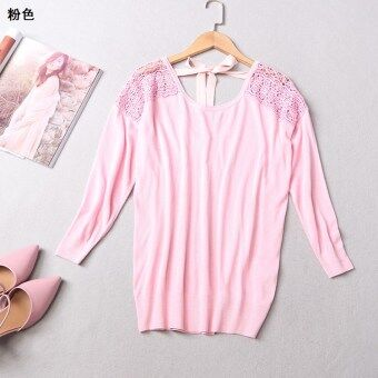 Yi Meihan version New style porous embroidered sweater ([Pink])