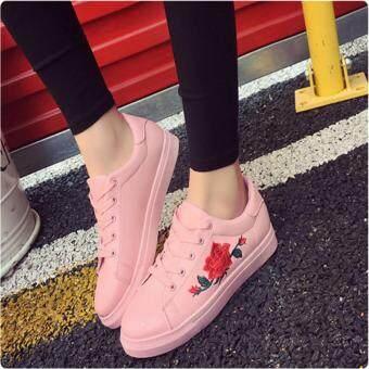 YingWei Fashion Women Sneakers Print PU Casual Shoes Sports Lace-Ups Flat Shoes-Pink