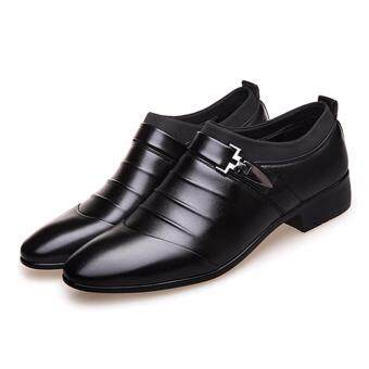 YingWei Men's Formal Business Leather Shoes Casual Formal Shoes (Black) - 3