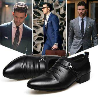 YingWei Men's Formal Business Leather Shoes Casual Formal Shoes (Black) - 2