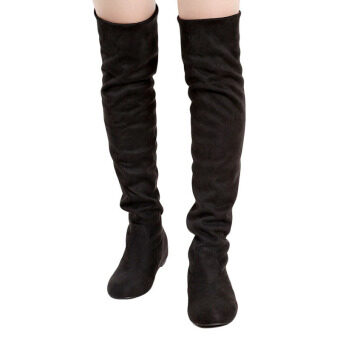 Harga YingWei Women Winter Boots Anti-Skidding Inner Heighten Flat BottomHigh Knee Long Boots Black