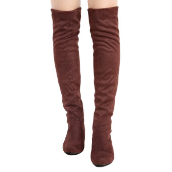 Harga YingWei Women Winter Boots Anti-Skidding Inner Heighten Flat BottomHigh Knee Long Boots Brown