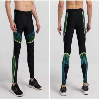 Yoga Compression Pants Elastic Tights Men Exercise Sports Fitness Jogging Jogger Running Trousers Gym Slim Leggings (Black Green)