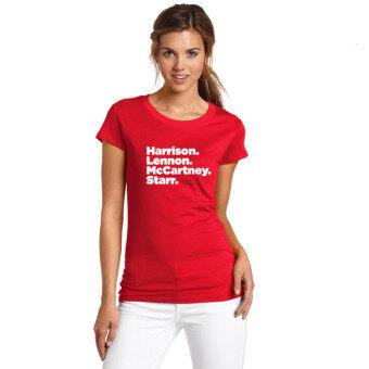 Yuandi Women 2017 the Beatles John Lennon Ringo Starr PaulMcCartney George Harrison Lady T Shirt Short Sleeve Girl FansT-shirt Red