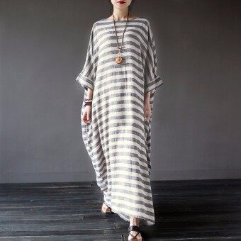 Harga ZANZEA New Arrival Autumn Dress Women Striped Dress Casual Loose ONeck Batwing Sleeve Maxi Long Dresses Vestidos Plus Size