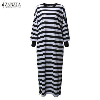 ZANZEA Women Striped Dress Long Batwing Sleeve O-Neck Casual Loose Split Maxi Long Dress Vestidos (Stripe) - 5