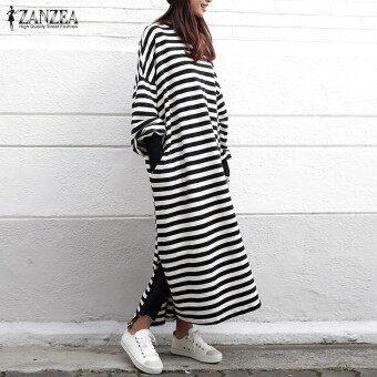 ZANZEA Women Striped Dress Long Batwing Sleeve O-Neck Casual Loose Split Maxi Long Dress Vestidos (Stripe) - 3