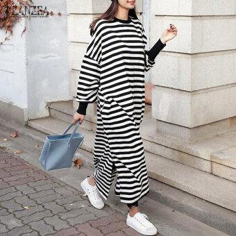 ZANZEA Women Striped Dress Long Batwing Sleeve O-Neck Casual Loose Split Maxi Long Dress Vestidos (Stripe) - 4