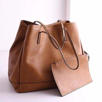 Harga Zara Convertible 2 in 1 Leather Shoulder Handbag (Brown)