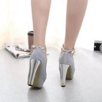 ZH Ladies fashion shallow mouth fish mouth high-heeled shoes Silver - 4