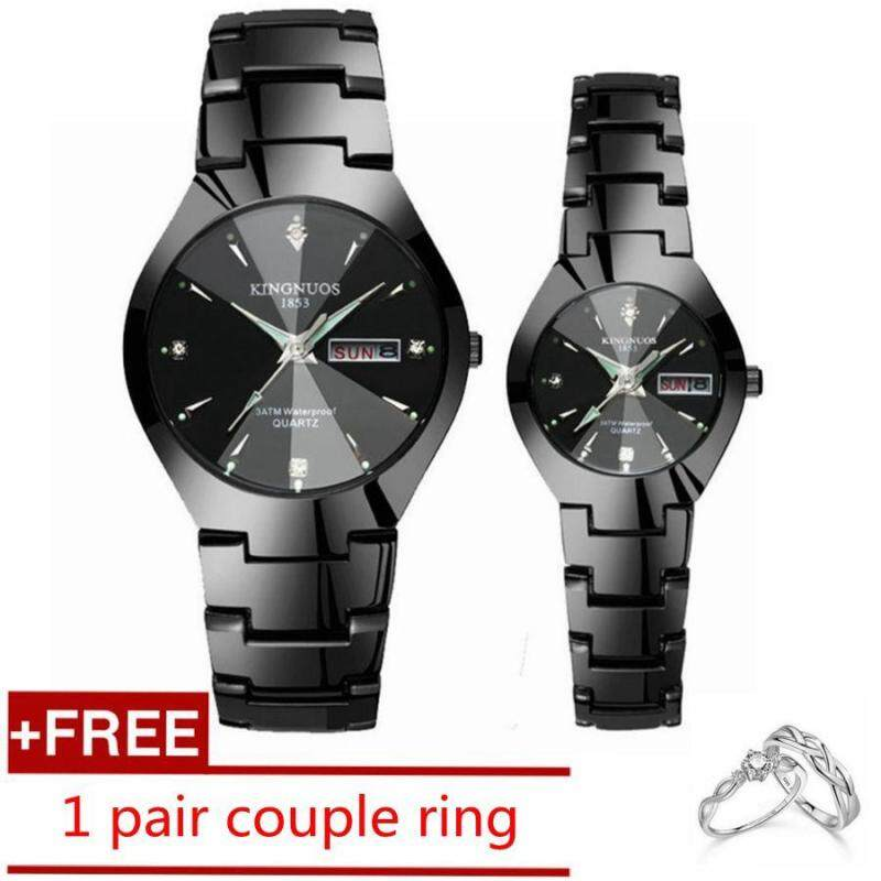 1 Pair Couple Watches Luxury Top Date Quartz Watches Stainless Steel Watch for Men Women Lover Luminous Wrist Watch + Free Couple Ring Malaysia