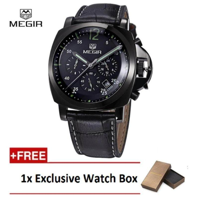 (100% Authentic) MEGIR 3006 30M Water Resistant Leather Black Male Quartz WatchBlack + Exclusive Watch Box Malaysia