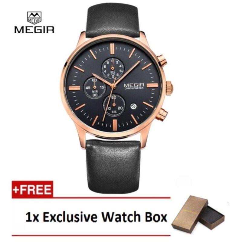 (100% Authentic) MEGIR Chronometer Black Genuine Leather Strap Gold Business Watch Quartz Luxury Sport Watch (Black&Gold) Malaysia