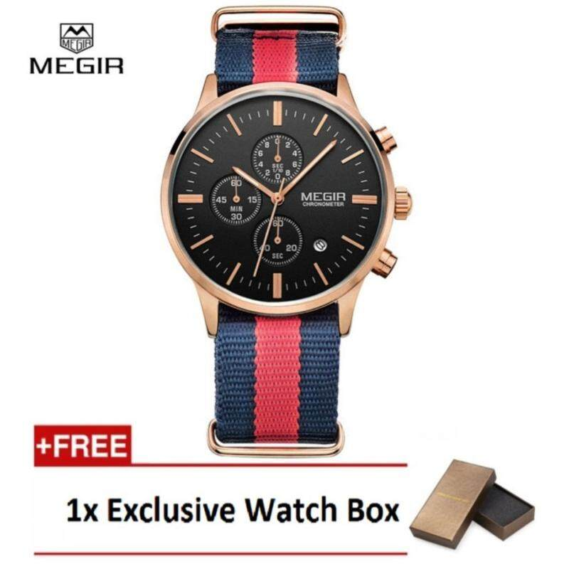 [100% Authentic] MEGIR Chronometer Military Water Resistant Quartz Watch Men Luminous Canvas Strap Wristwatch (Black Gold & Red) with Free Watch Box Malaysia