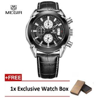 (100% Authentic) MEGIR M2020 Male Quartz Watch Three WorkingSub-dials Sport Water Resistant Stainless Steel Back Wristwatch(BLACK) + Exclusive Watch Box