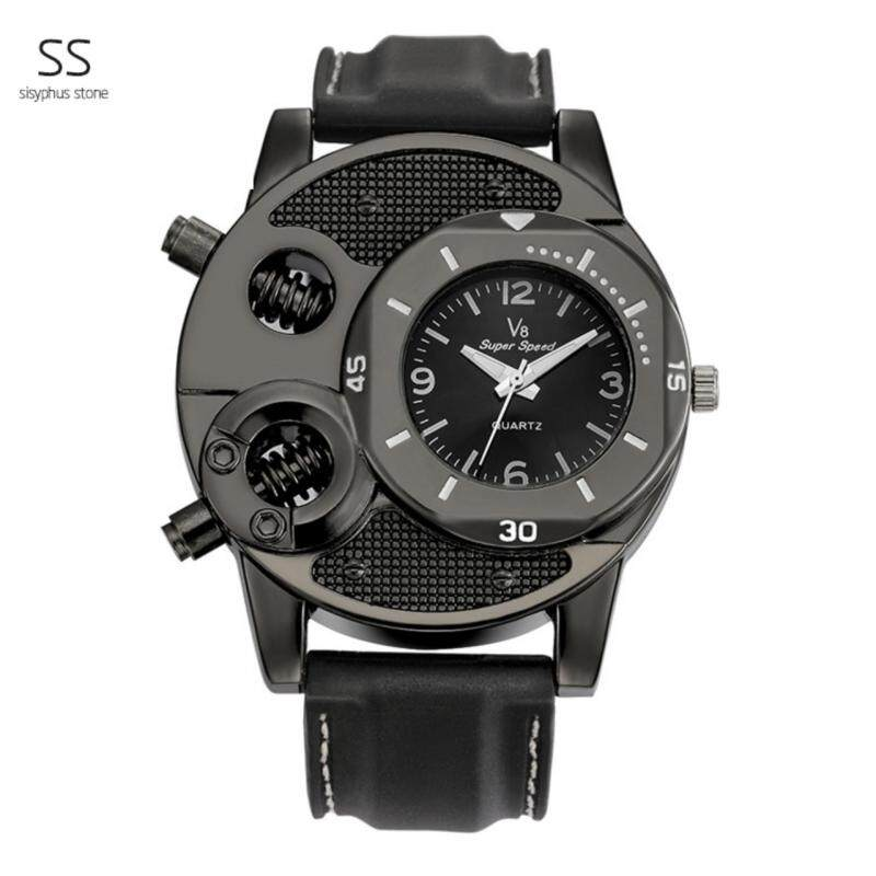 (100% Authentic) V8 Original Wrist Watch Mens Sports Top Brand Luxury Military Skeleton Quartz Watch With Leather Strap 30m Waterproof Wristwatch For Male  (Black) Malaysia