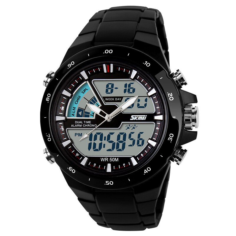 [100%   Genuine]SKMEI Brand Men Sport Watches dual display Digital analog quartz LED Wristwatches rubber strap swim waterproof creative watch Malaysia