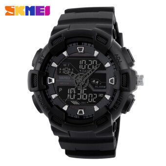 [100% Genuine]SKMEI men sport watches dual display digital analog LED Electronic watches Brand quartz Watches 50M waterproof swimming watches
