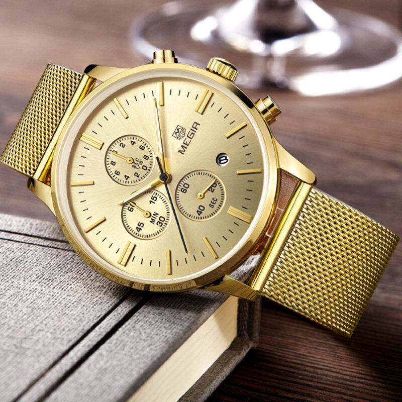 100% Original MEGIR 2011STEEL Stainless Steel Case and Strap Men Male Fashion Business Sport Casual Army Military Wrist Quartz Watch (Chronograph/Stopwatch Function) - Gold Malaysia