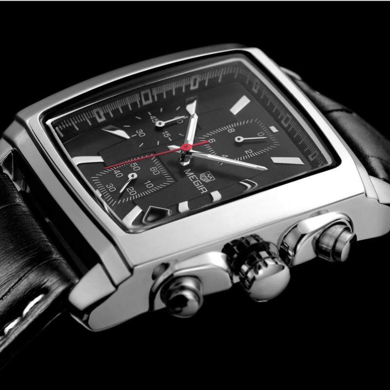 100% Original MEGIR 2028 Stainless Steel Case Leather Strap Men Male Fashion Business Sport Casual Army Military Wrist Quartz Watch (Chronograph/Stopwatch Function) - Black Malaysia
