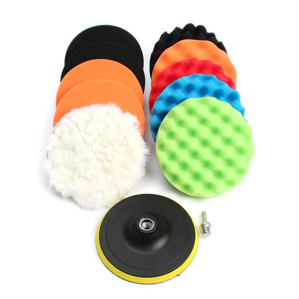 11pcs 3 5 6 7 waffle buffer compound waxing polishing wheel tool sponge pad drill adapter kit set for auto car polisher cleaning vehicle wash lazada
