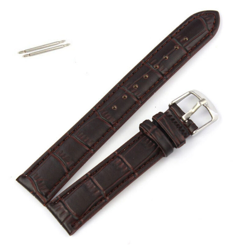 18mm Soft Genuine Leather Strap Steel Buckle Wrist Watch Band Brown Malaysia