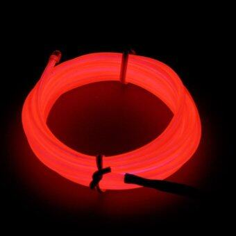 Harga 1M LED Light Glow EL Wire Strip Rope Tube Car Dance Party+USBController Red Color