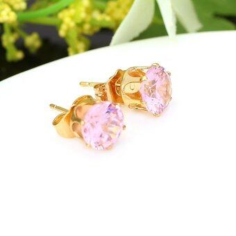 Harga 1Pair Cleark Crystal Zircon 18K Gold Plated Crown Ear Stud EarringJewelry Gift for Women Lady
