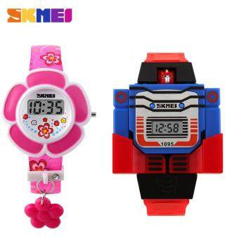 1PCS SKMEI 1095 Kid's Fashion Quartz Wristwatch+1PCS SKMEI 1144 Child Girl Boy Flower Watch Fashion LED Digital Silicone Wristwatch