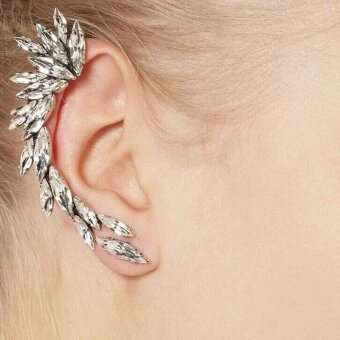 1pcs Women's Charm Silver Crescent Crystal Rhinestone Ear Cuff Clipon Stud Earring Silver