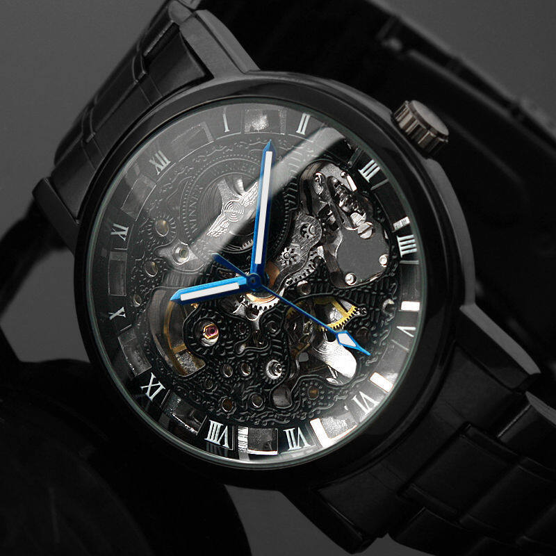2016 New Black Mens Skeleton WristWatch Stainless Steel Antique Steampunk Casual Automatic Skeleton Mechanical Watches Male Malaysia