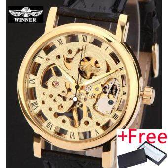 Harga 2016 winner brand silver gold tone Skeleton Hand wind Mechanical Mens men Watch Jam Tangan brown black artificial leather band thin case