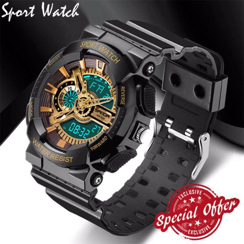 2017 New Fashion Watch Men G Style Waterproof Sports Military Watches S Shock Fashion LED Digital Watch Men(black and gold) Malaysia