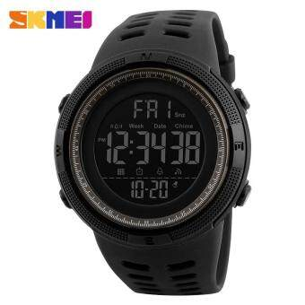 Harga 2017 New SKMEI 1251 Men Sports Watches 50M Waterproof Watches Countdown Double Time Watch Alarm Chrono Digital Wristwatches - Black Gray