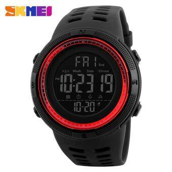 Harga 2017 New SKMEI 1251 Men Sports Watches 50M Waterproof Watches Countdown Double Time Watch Alarm Chrono Digital Wristwatches - Black Red