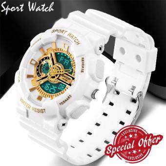Harga 2017 New Watch Men G Style Waterproof Sports Military Watches S Shock Fashion LED Digital Watch Men(White and gold)