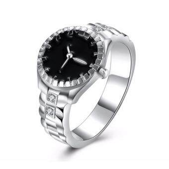 2017 Unisex Creative Wristwatch Design Finger Ring Stainless SteelSilver Plated
