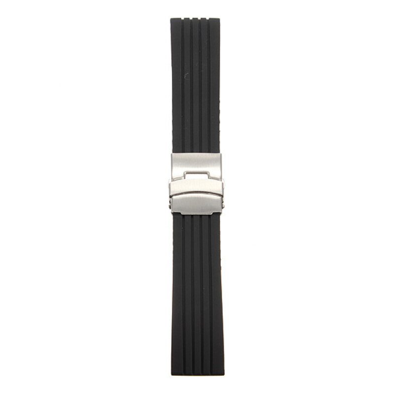 22mm Mens Silicone Rubber Watch Strap Band Waterproof Deployment Clasp Malaysia