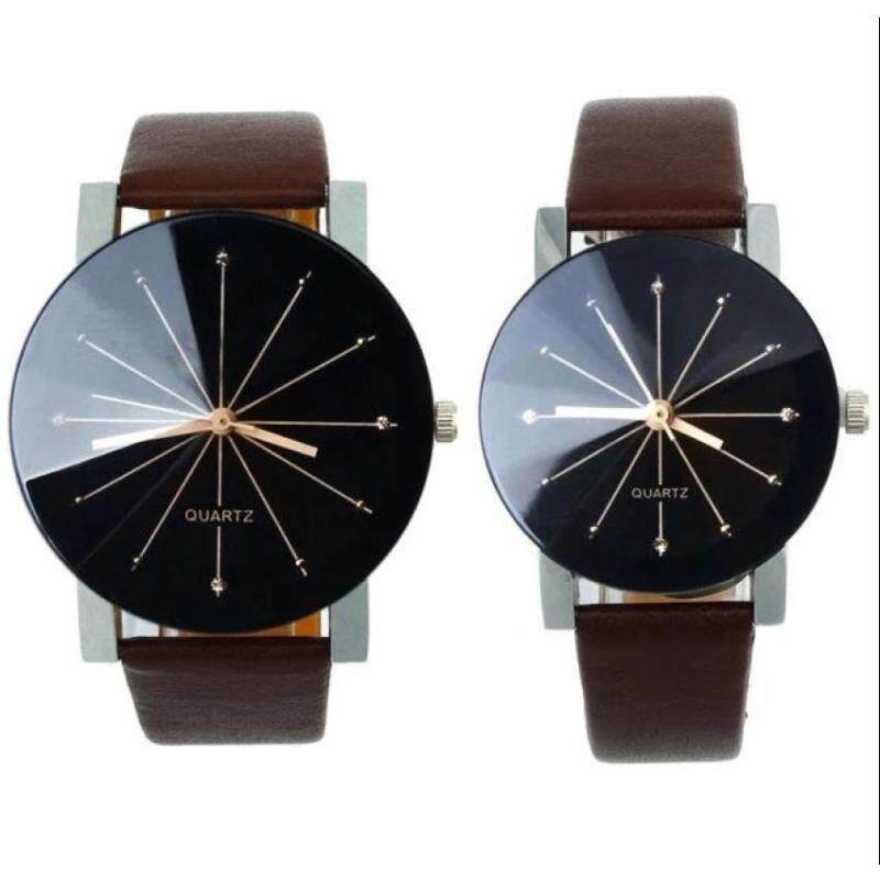 2Pcs/Set Couple Watch Men and Women Fashion Quartz Dial Clock Leather Wrist Watch Malaysia