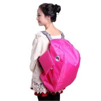 Harga 3-Way Compact Foldable Waterproof Carry Bag Backpack with CarryPouch DARK PINK